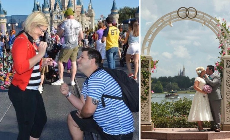 Castle Disney proposal and Disney wedding