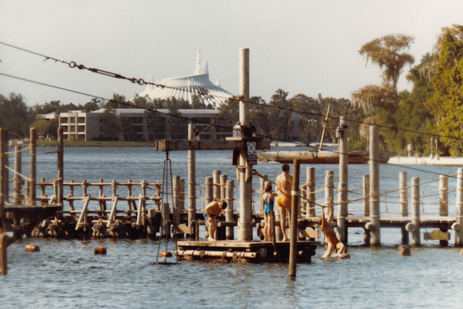 Barrel Bridge at River Country with Space Mountain in the back