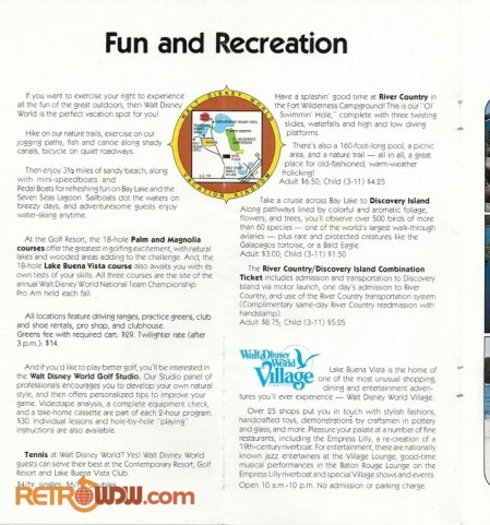 Advertisement for Fun and Recreation at Walt Disney World