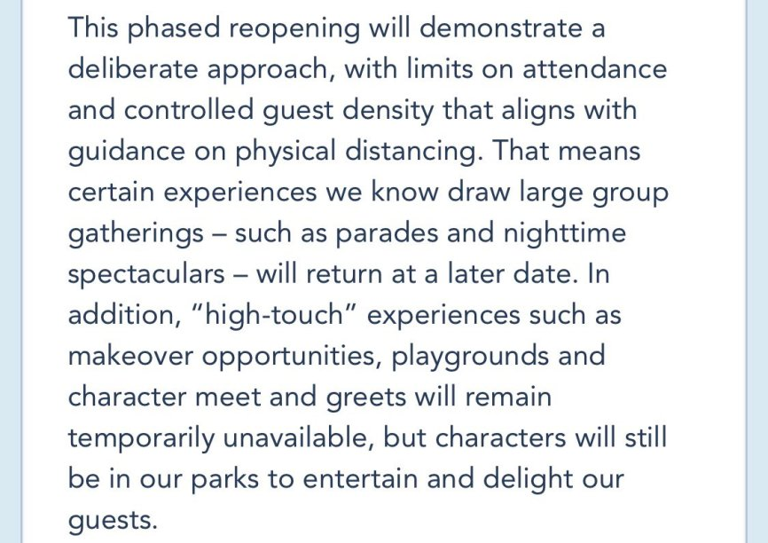 Park Reopening Disney Guidelines