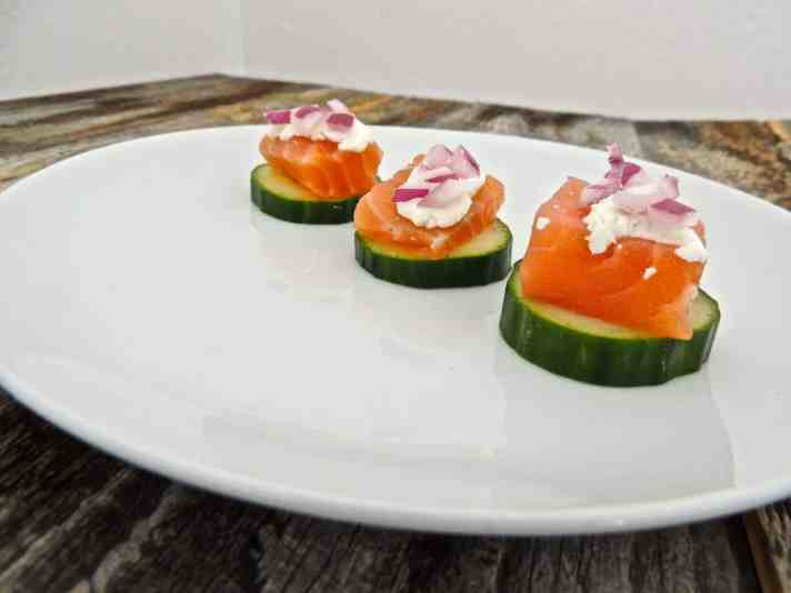 Homemade Cured Salmon and Cucumber Rounds