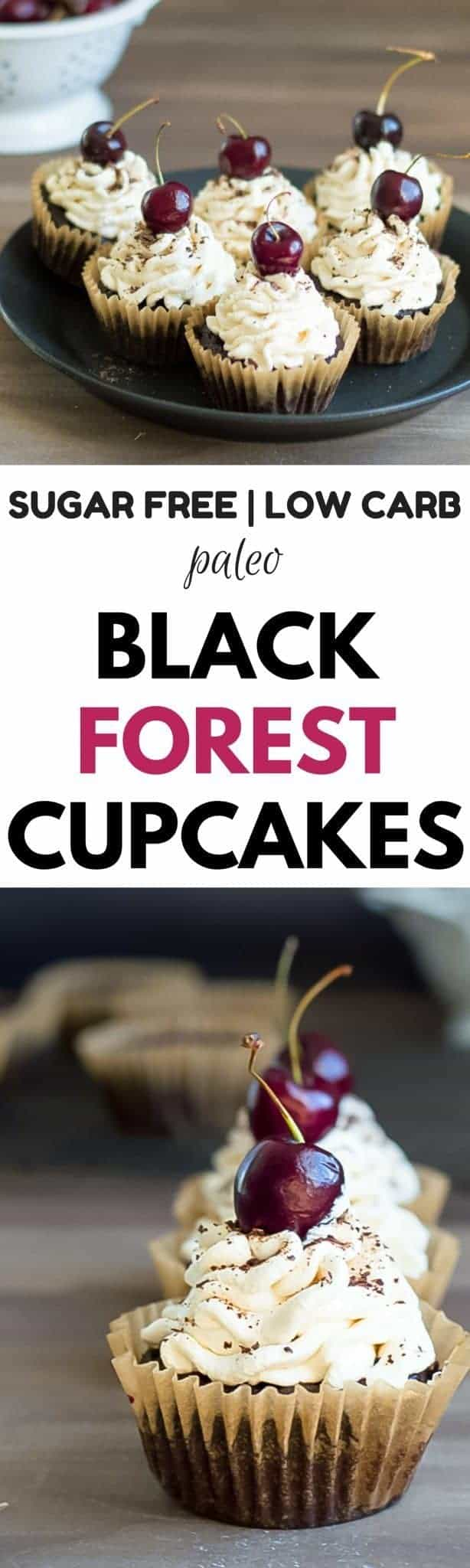 Black Forest Cupcakes that are homemade and stuffed with a cherry filling. Healthy, easy, gluten free, dairy free black forest cupcakes. Best black forest cupcakes recipe. Gluten free, stuffed black forest cupcakes. Paleo black forest cupcakes!