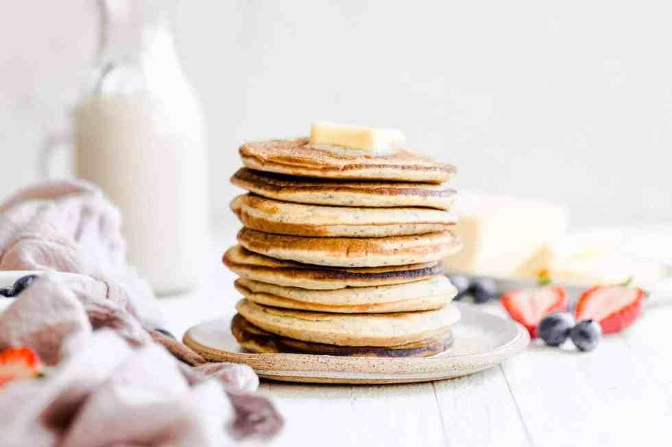 plain paleo pancakes on a plate
