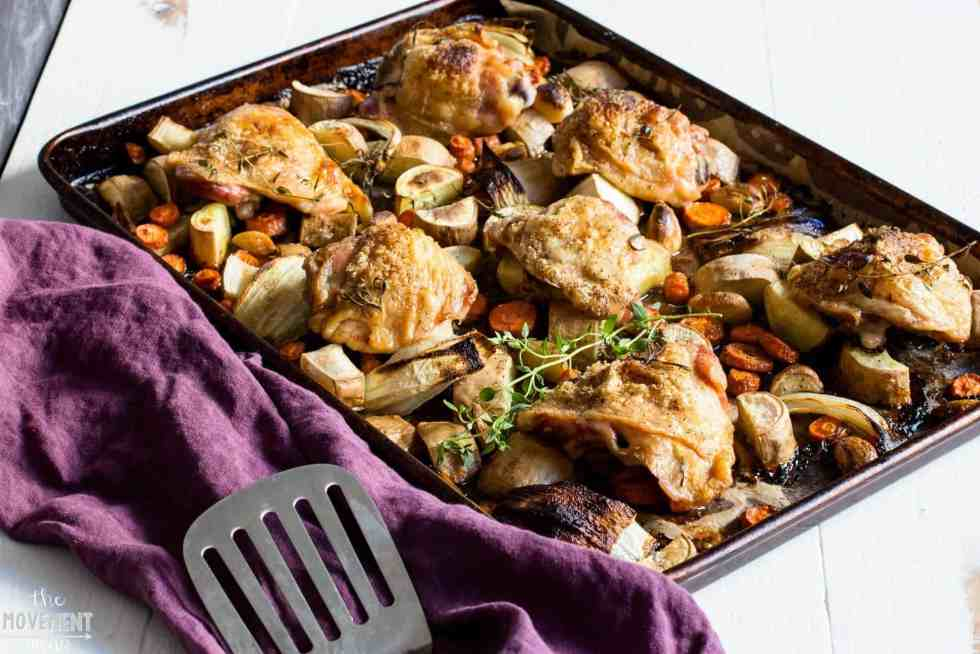 This crispy chicken thighs recipe comes out perfect every time. Cooked on a bed of white sweet potatoes & carrots- yum!