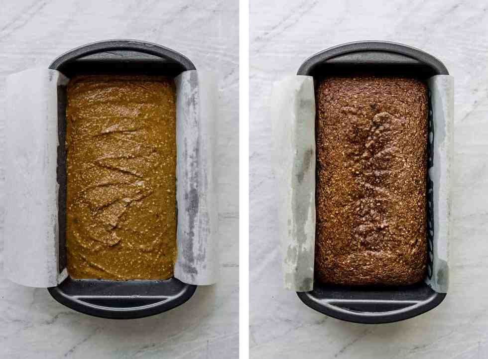 paleo pumpkin bread batter in a metal loaf pan