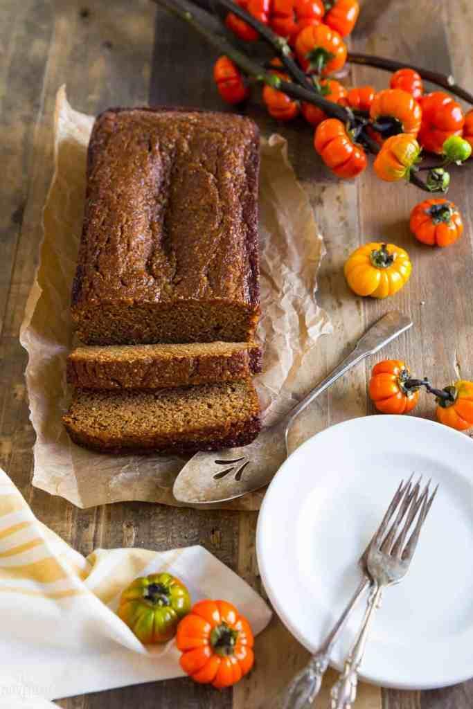 Best Paleo Pumpkin bread. Easy homemade Thanksgiving recipe. Paleo diet breakfast ideas. Easy Gluten Free breakfast food. Healthy baking. 5 Minute Paleo Pumpkin Bread. Easy paleo pumpkin bread. Paleo pumpkin desserts. Healthy pumpkin desserts. Gluten free pumpkin bread. Gluten free pumpkin desserts.