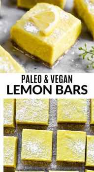 A paleo lemon bar on a marble board