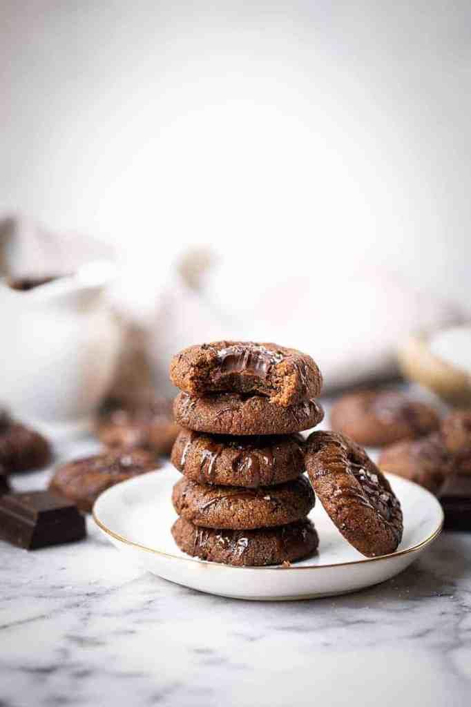 Double Chocolate Vegan Thumbprint Cookies
