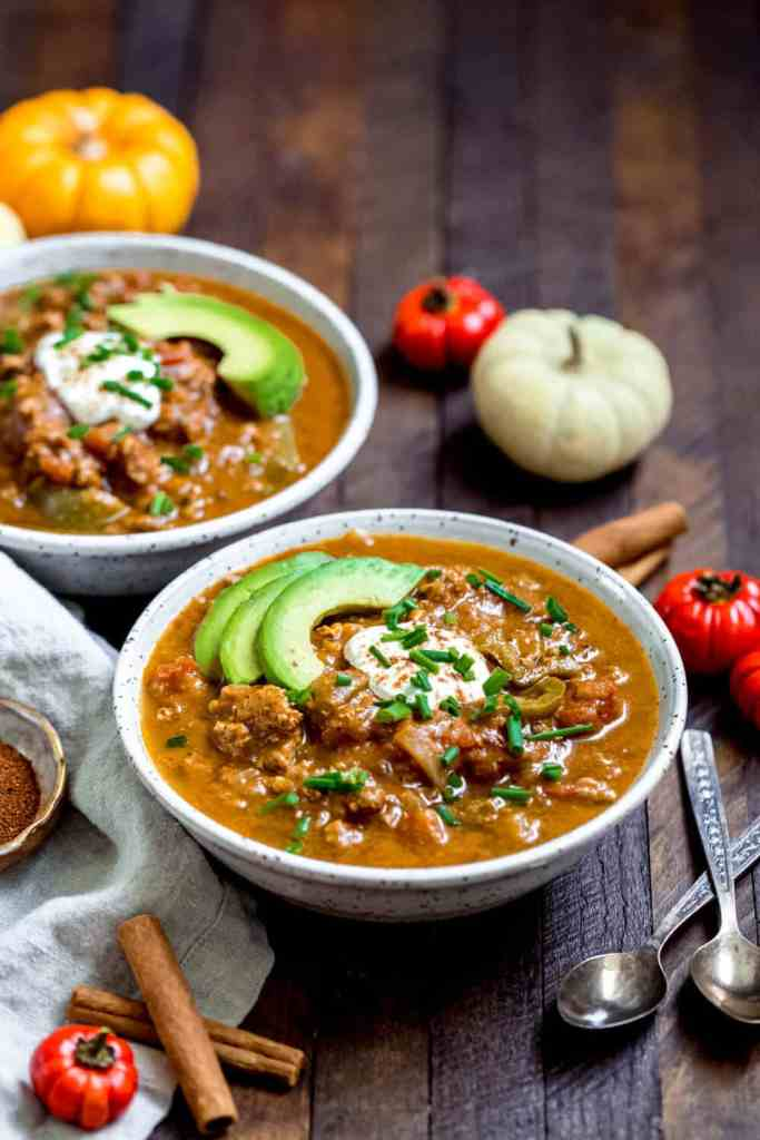 This paleo pumpkin chili is a delicious, family friendly meal that can be made quickly in the Instant Pot or on the stove top. Dairy free, paleo and Whole30 compliant, too! #lowcarb #keto #pumpkin #whole30recipes #whole30