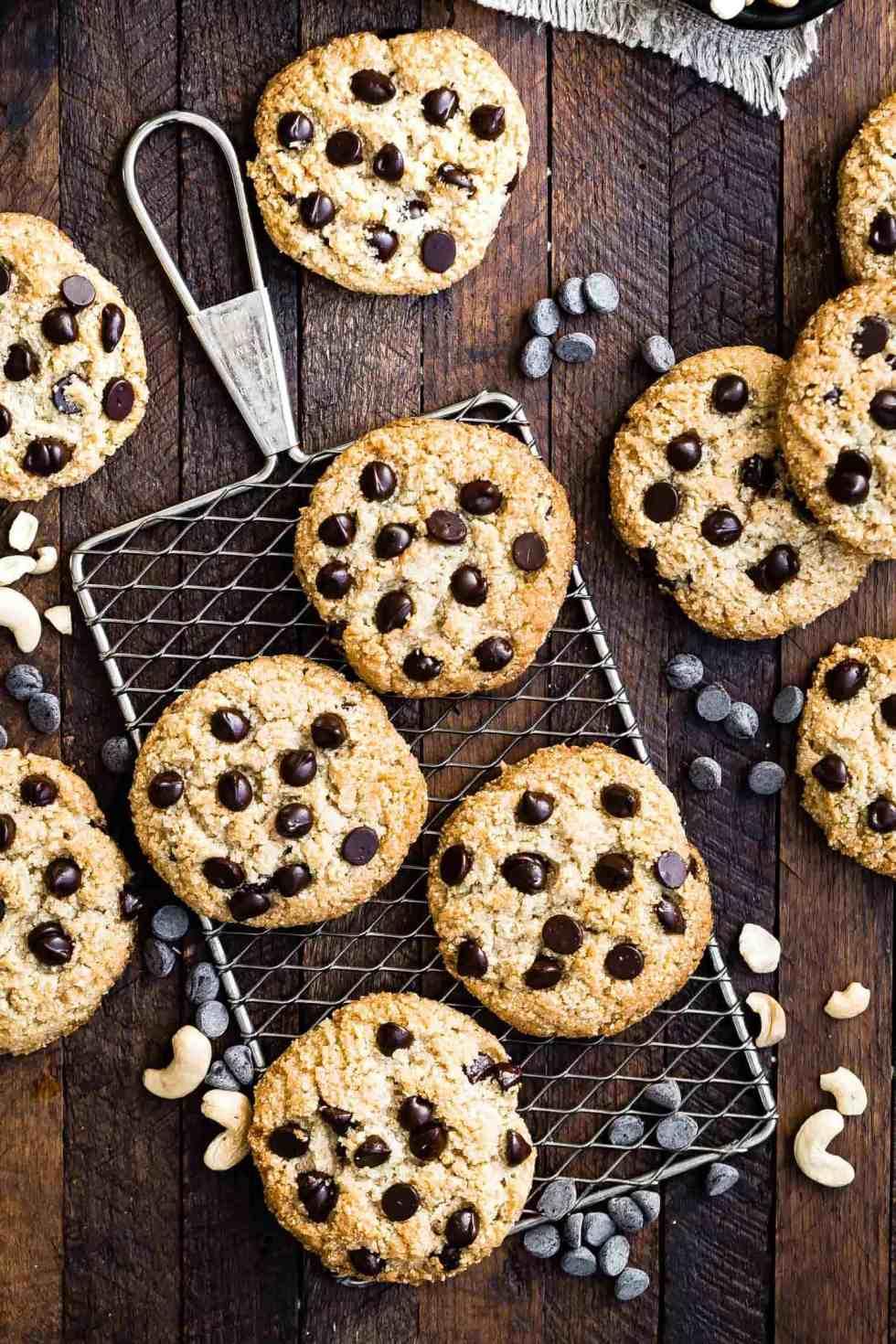 overhead view of low carb chocolate chip cookies