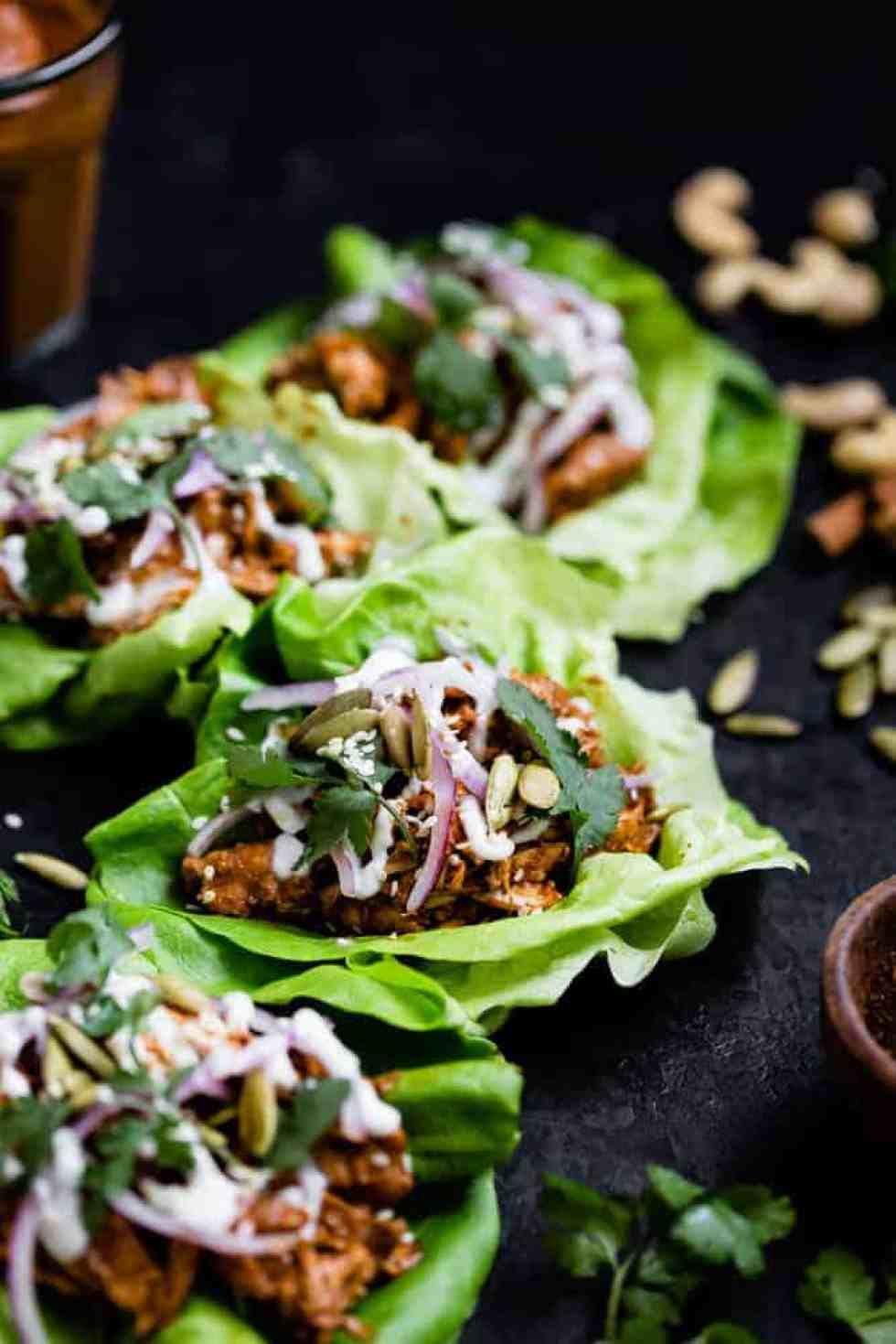 chicken mole tacos wrapped in lettuce
