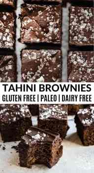 close up shot of tahini brownies with flaked salt
