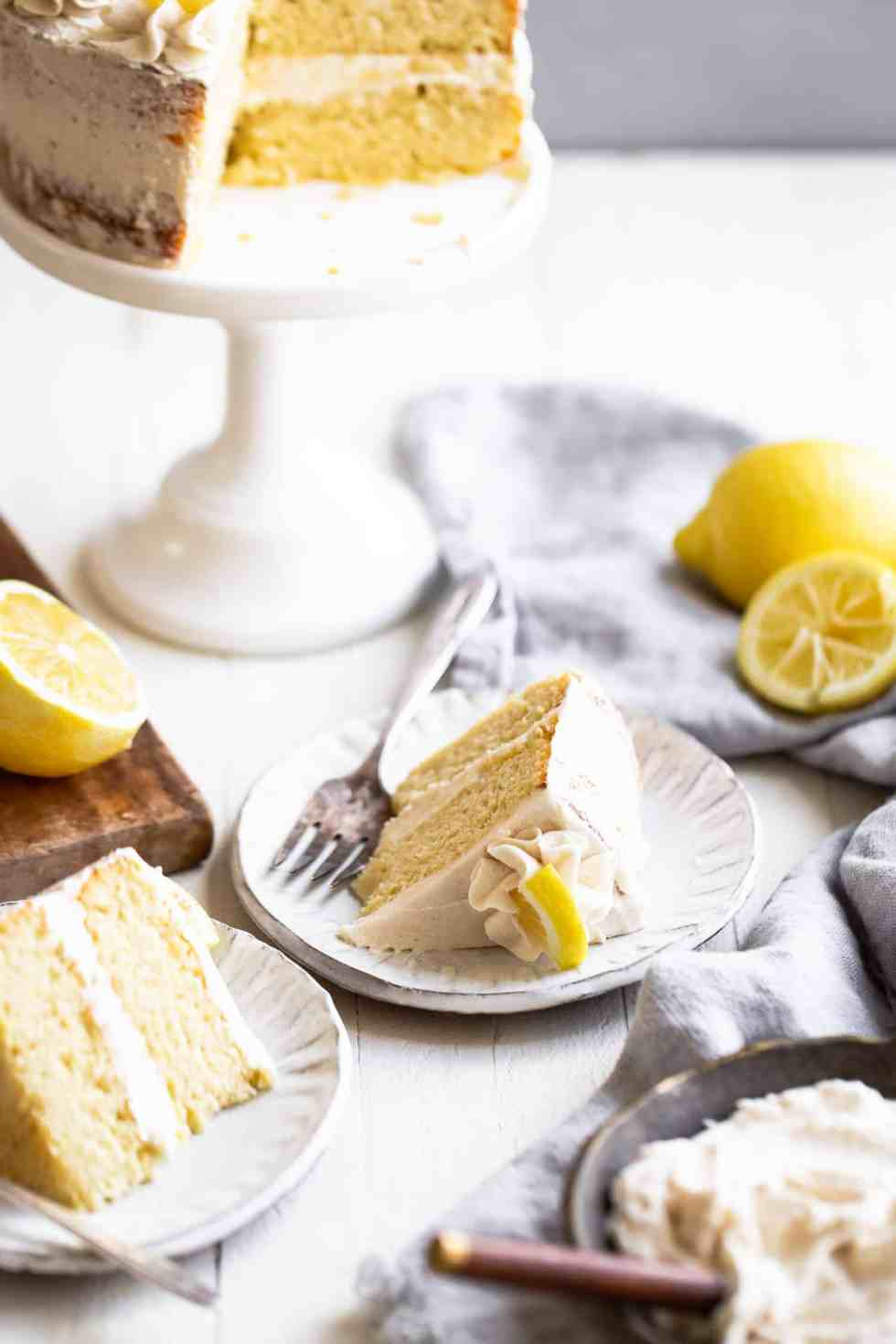 sugar free lemon cake on a plate with a fork