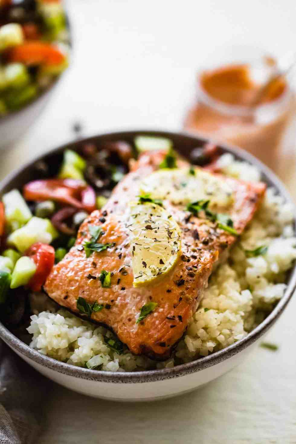 close up of Whole30 Greek salmon in a bowl