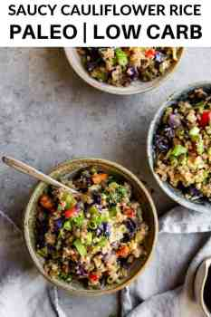 bowls of cauliflower rice with forks inside