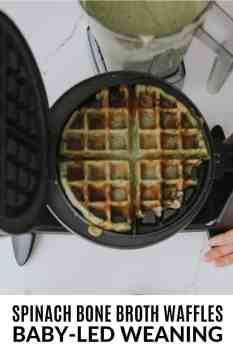 spinach bone broth waffles in a waffle maker in a kitchen
