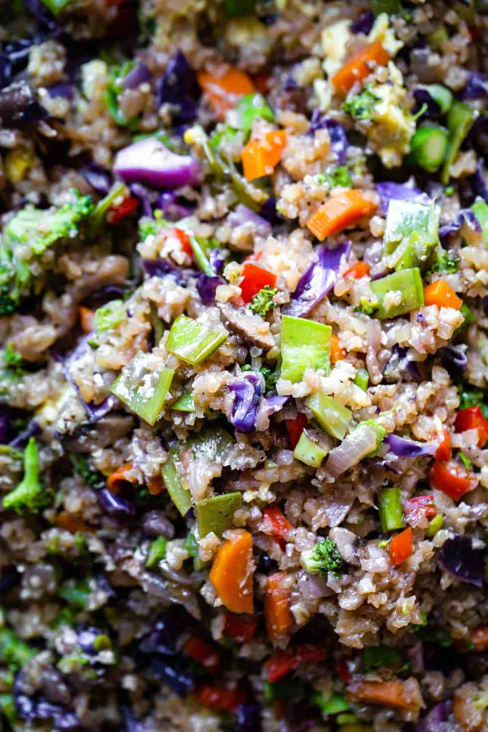 close up of cauliflower fried rice