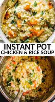 Instant Pot chicken and rice soup in a bowl and inside the Instant Pot
