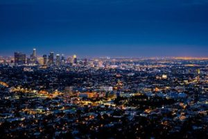 LA view from the sky at night.