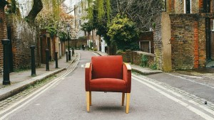 A chair on the street.