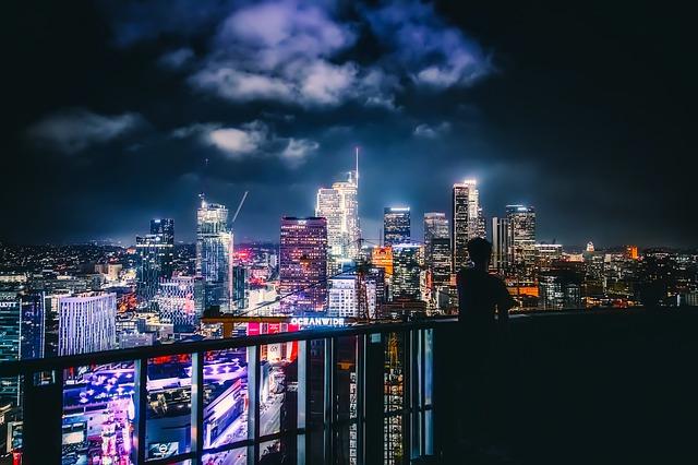 A view of LA at night.