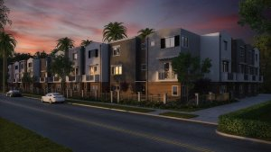 AN apartment block where finding an apartment before moving to Los Angeles is possible.