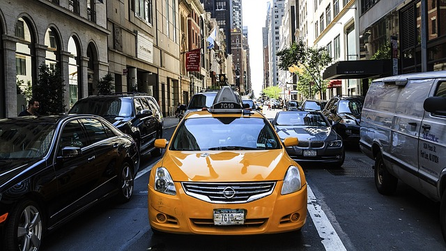 A cab in the street of Midtown Manhattan
