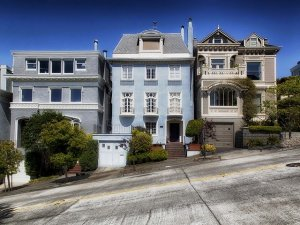 Some houses in a steep street in San Francisco.