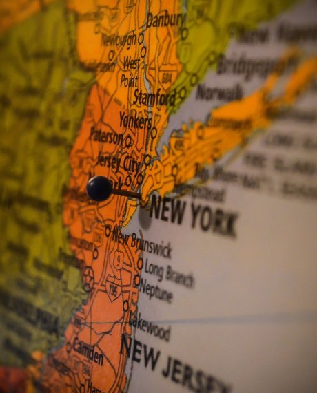 The city of New York pinned on a map.