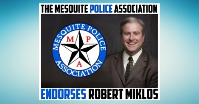Robert Miklos Mesquite Police Association Endorsement