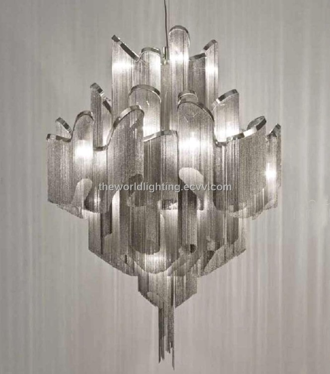 Inspiration About Td 120518chrome Metal Stand Silver Fabric Modern Iron Chandelier With Regard To Chrome