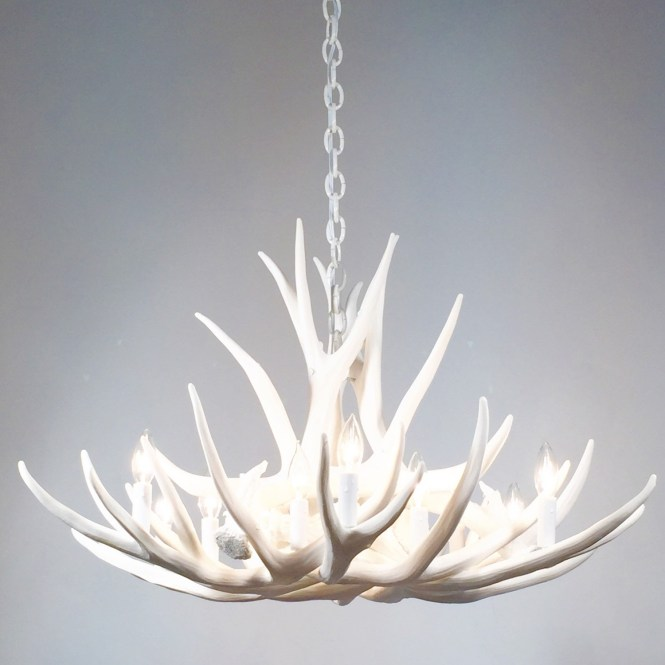 White Antler Chandelier Faux Deer D9 With Regard To Stag Horn