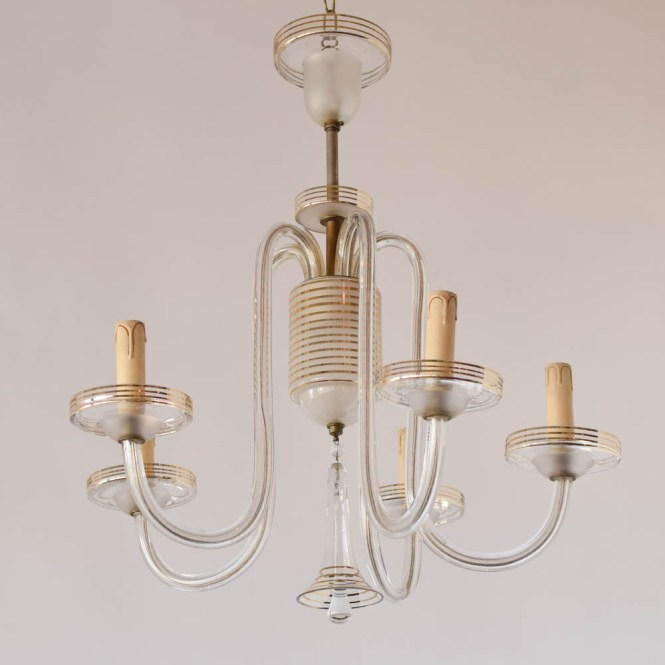 Simple Glass Chandelier Wgold Stripes The Inside 10 Of