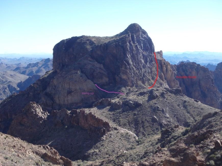 Descending towards Ten Ewe, planned route in red, actual class III route in purple.