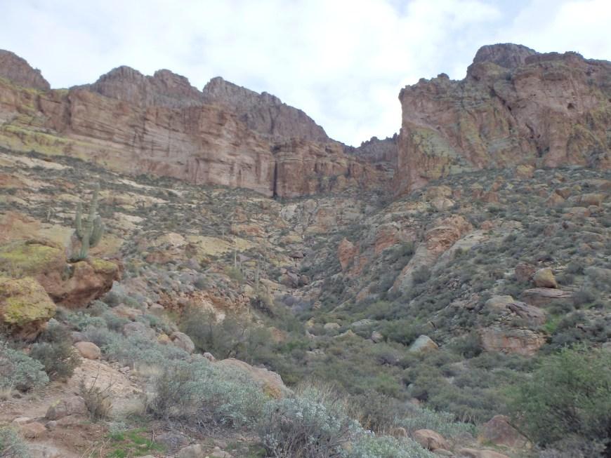 Climbing the rib towards the canyon.