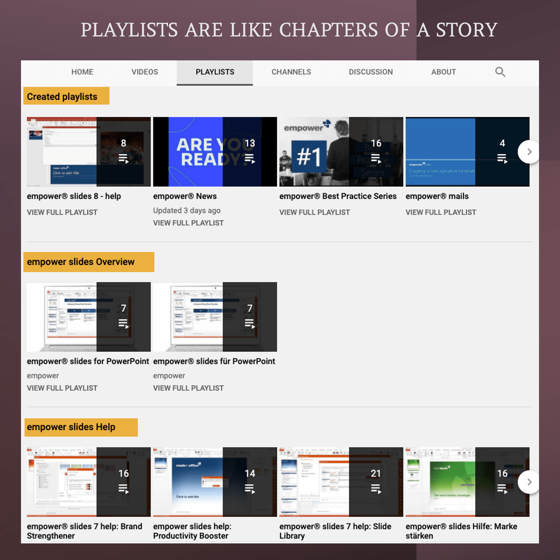 Channel of a video business podcast uses Playlists as Chapters in a book