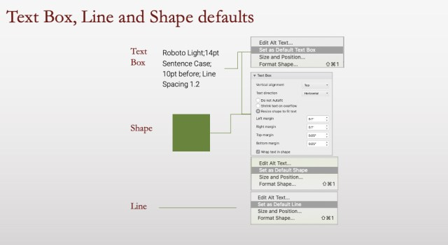 Text box line and shape defaults