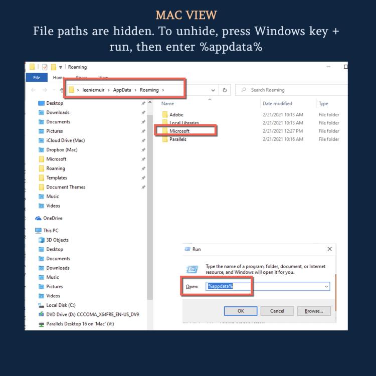 Microsoft Appdata is a hidden folder on a Mac