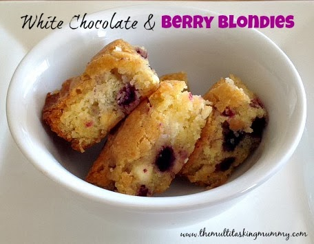 white chocolate and berry blondies