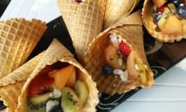 Fruit Salad & Meringue Waffle Cones