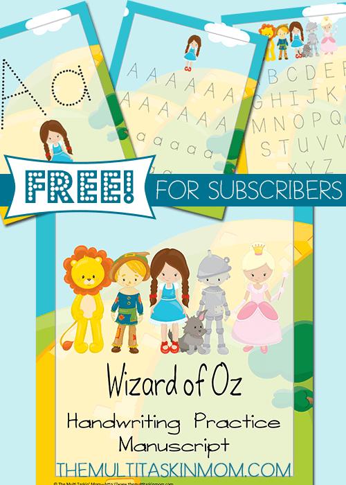 Wizard of Oz Handwriting Practice FREEBIE
