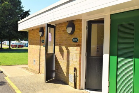 The back of the Facilities block at Cambridge Camping and Caravanning Club