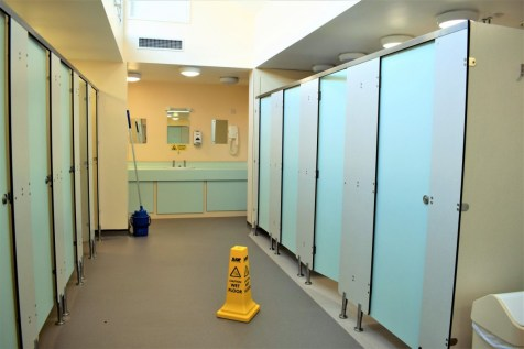 a view inside the ladies toilets Cambridge Camping and Caravanning Club