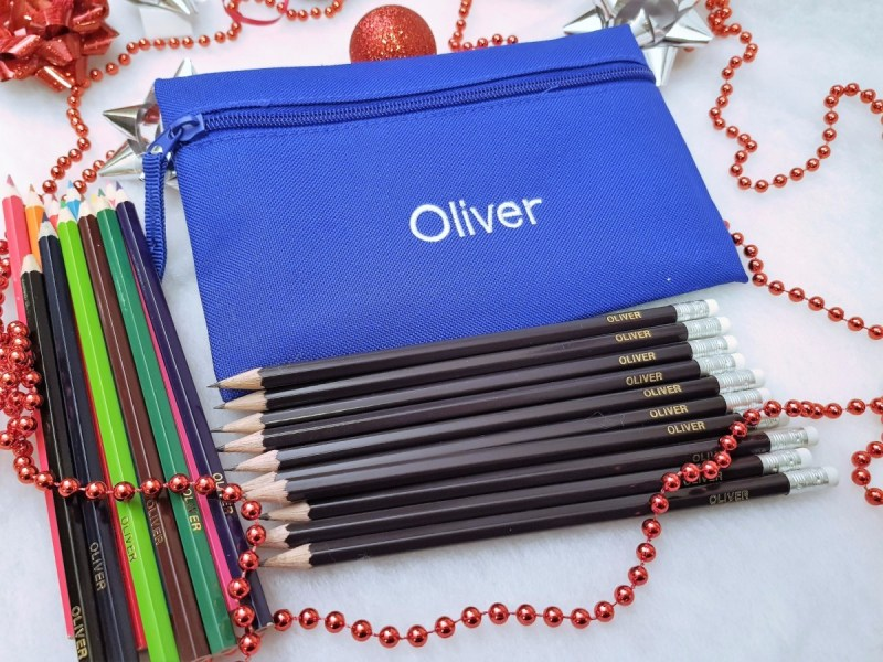 Blue personalised Pencil Case with Personalised Pencils Stationery Gift Guide