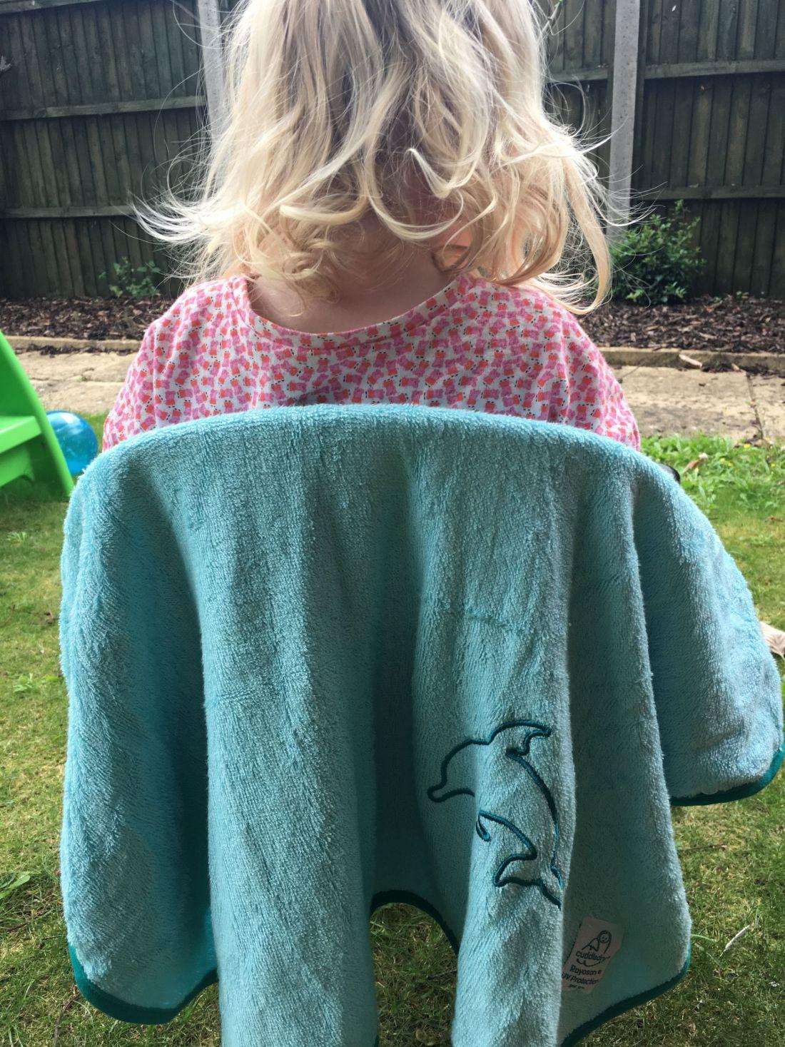 Cuddledry SPF50 poncho towel in aqua/turquoise