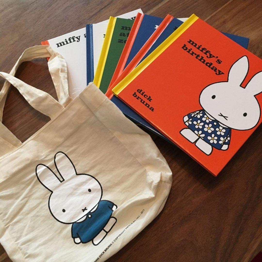 Miffy books and book bag
