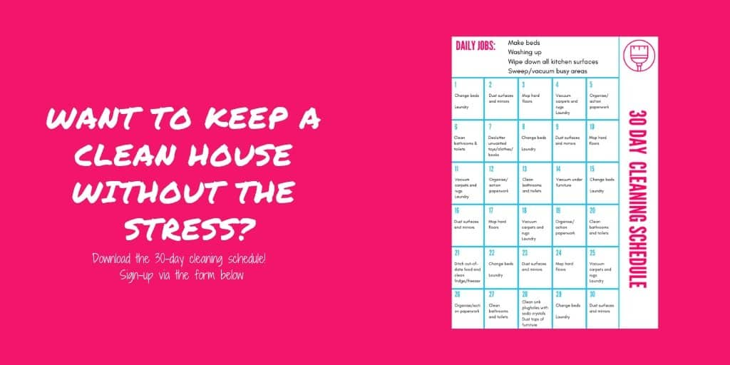 Monthly cleaning schedule for busy mums - printable