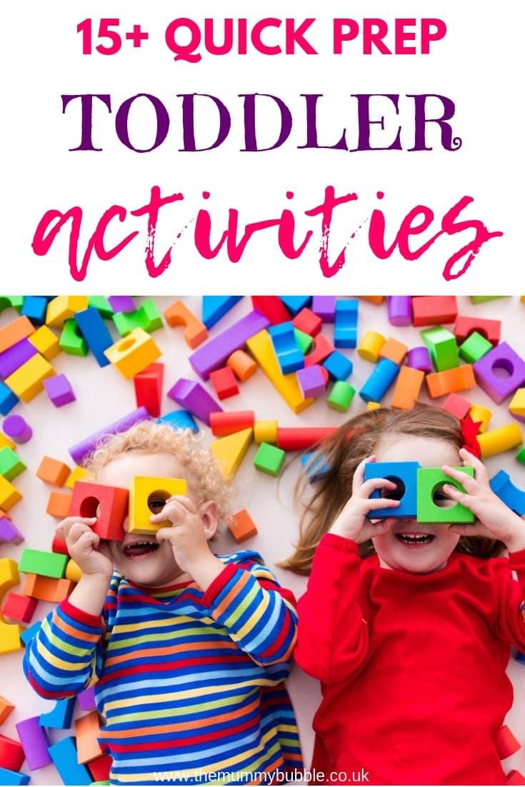 15 quick prep toddler activities