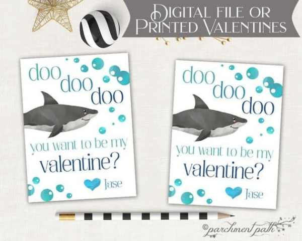 Baby shark valentines card for kids