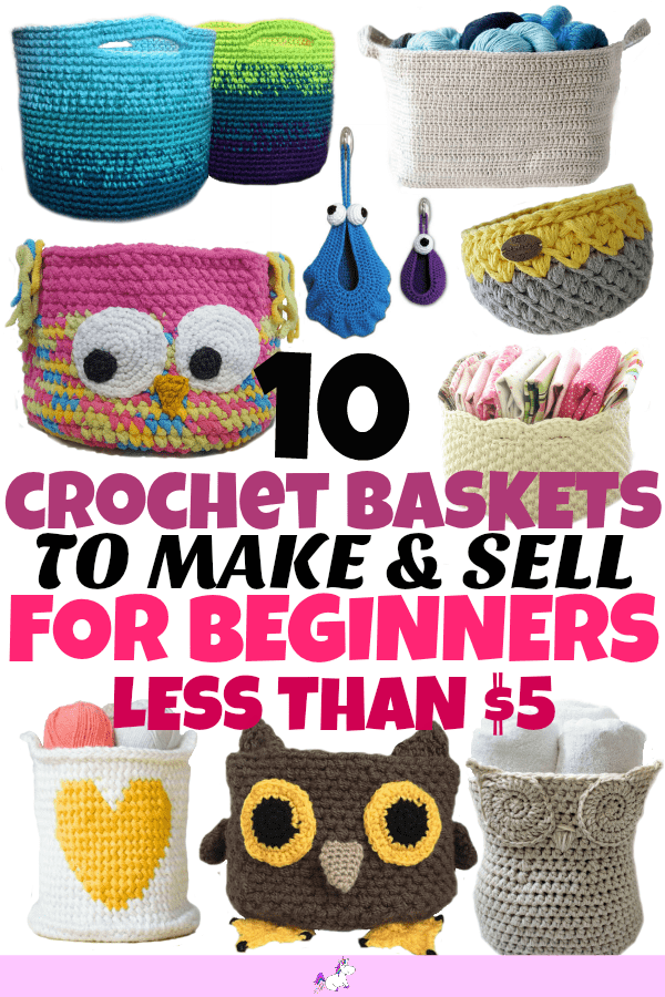 10 Crochet Baskets to Make & Sell For Beginners #etsycrafts #crocheting #makeandsell #maketosell #beginnercrafts #crochetbasket #homeorganisation #homeorganization #homestorage #budgetstorage #diyorganisation #diyorganization #crochetorganization #owlbasket #organizingbaskets